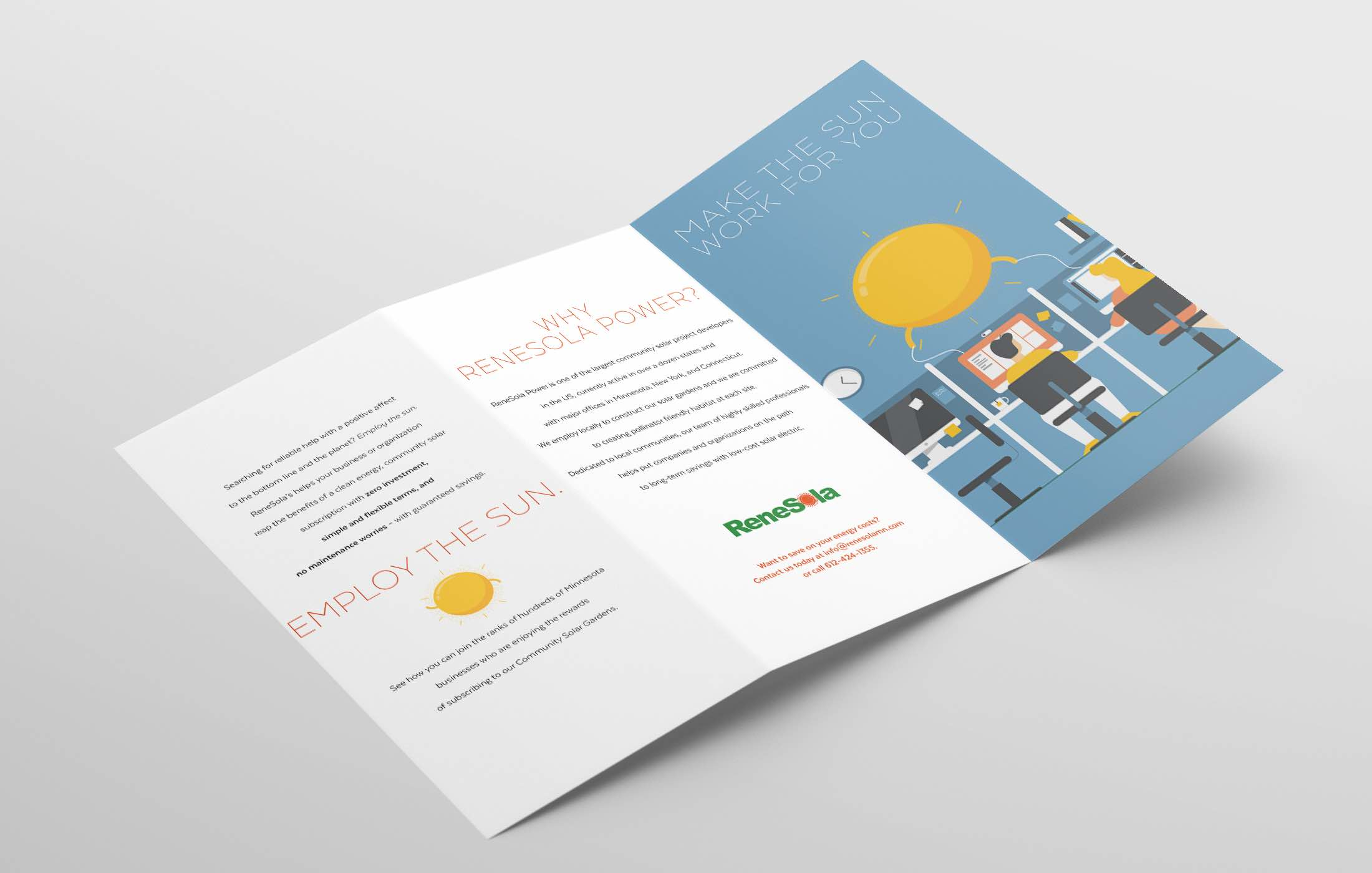 ReneSola MN employ the sun campaign illustration trifold direct mail