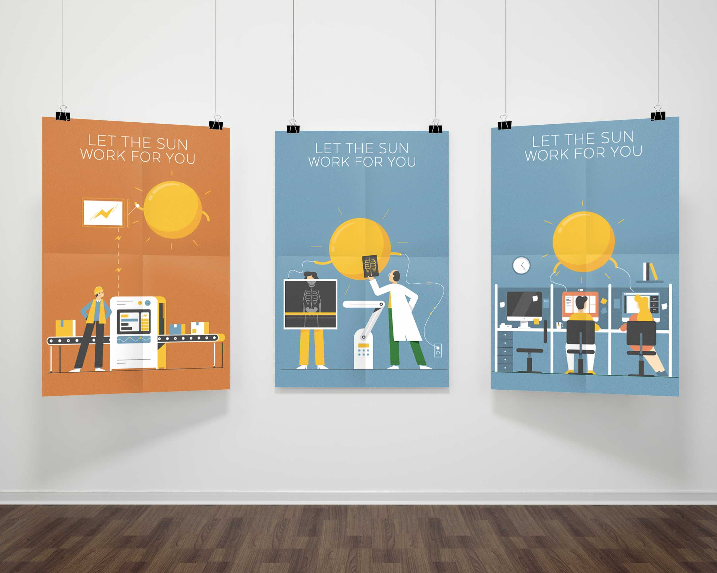 ReneSola MN employ the sun campaign illustration poster series and digital ads