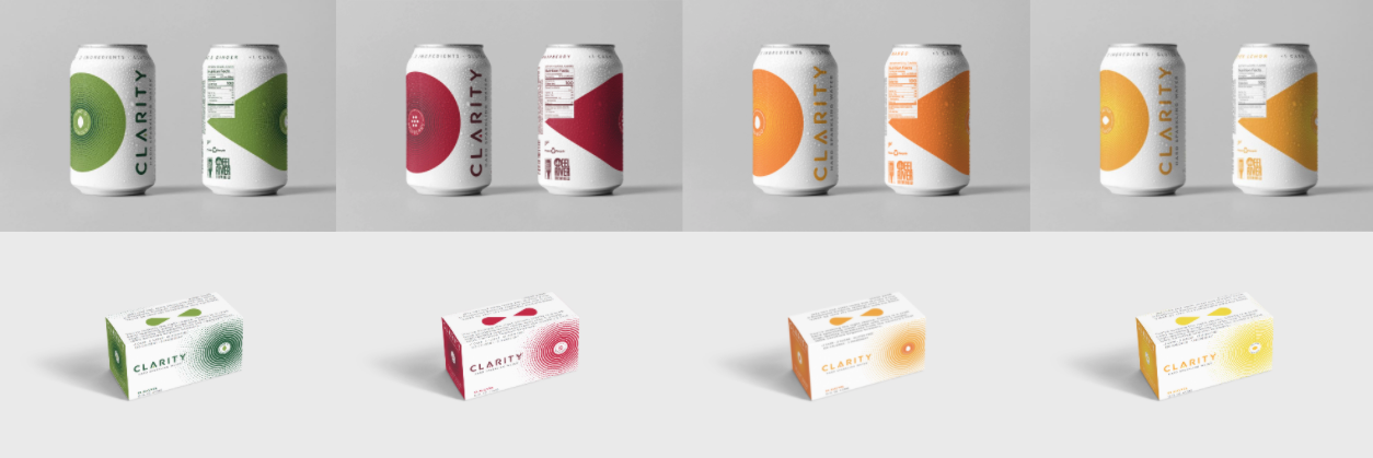 Clarity Hard Sparkling Water Packaging Lineup hard seltzer hard sparkling water can and packaging design