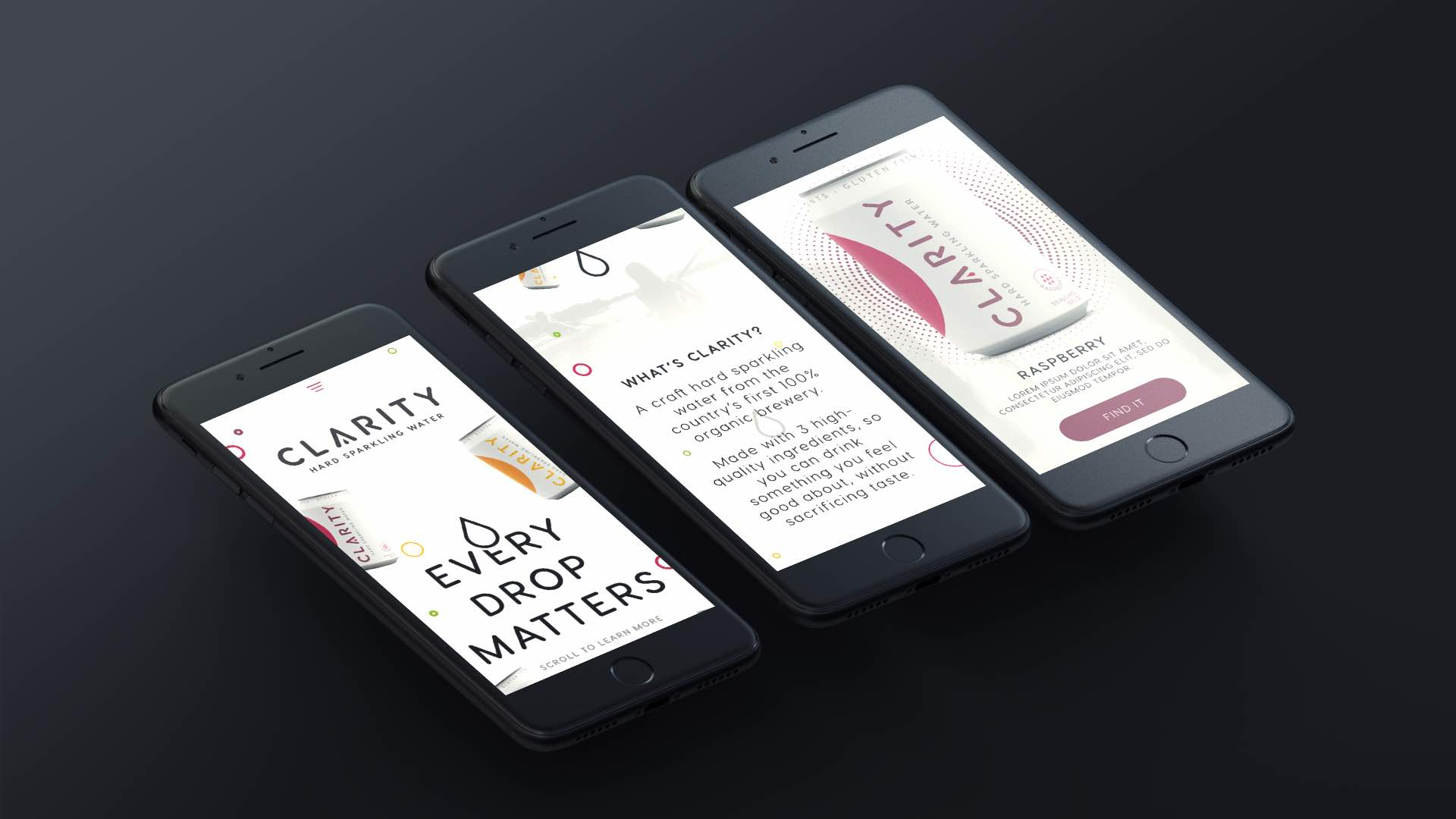 Clarity hard sparkling water website design and development mobile website