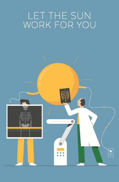 ReneSola MN employ the sun campaign illustration poster series medical workers