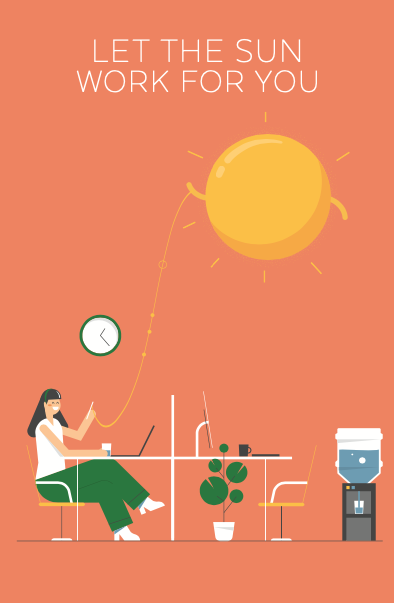 ReneSola MN employ the sun campaign illustration poster series office workers