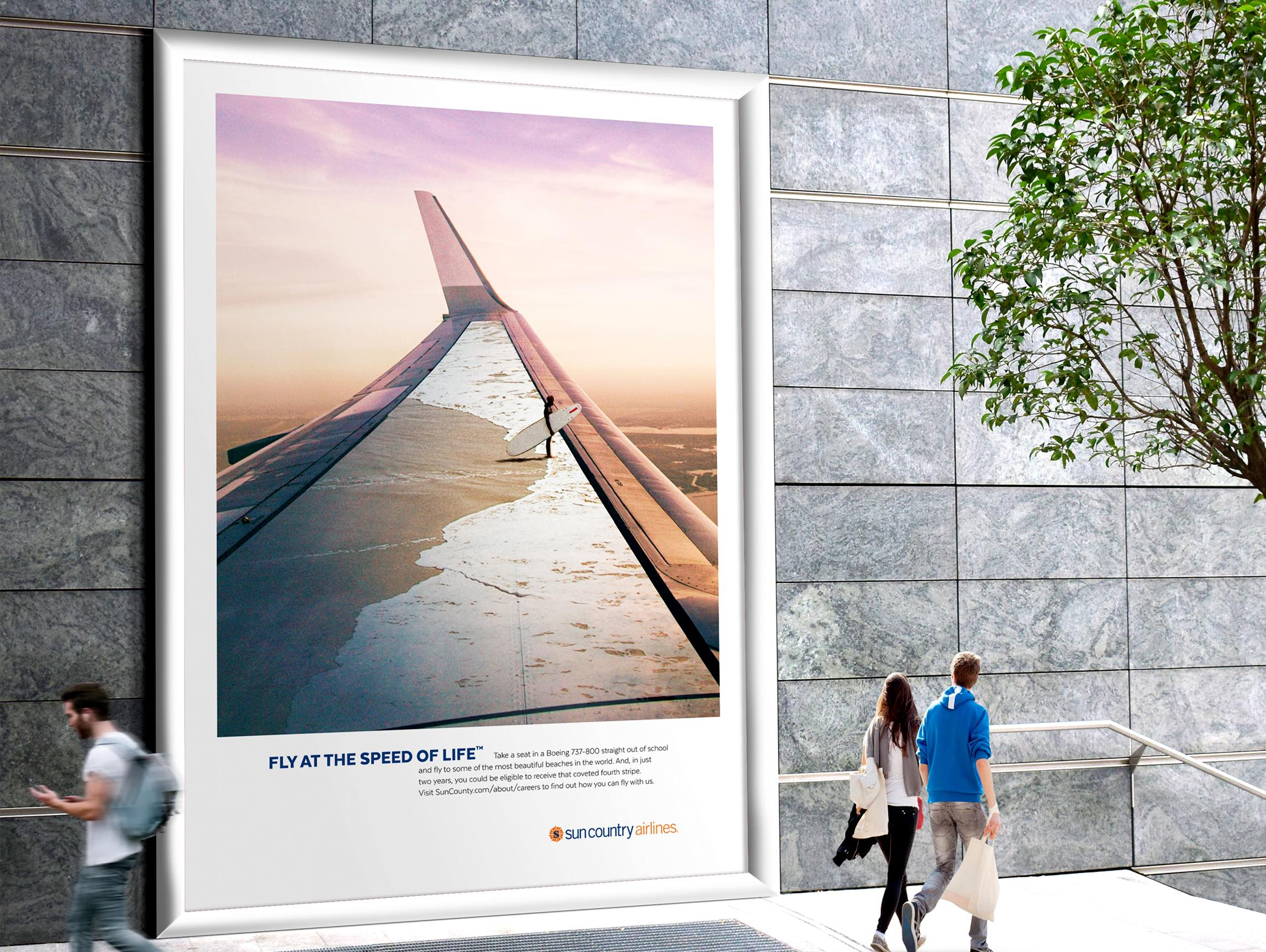 Sun Country Airlines Fly at the speed of life campaign poster design