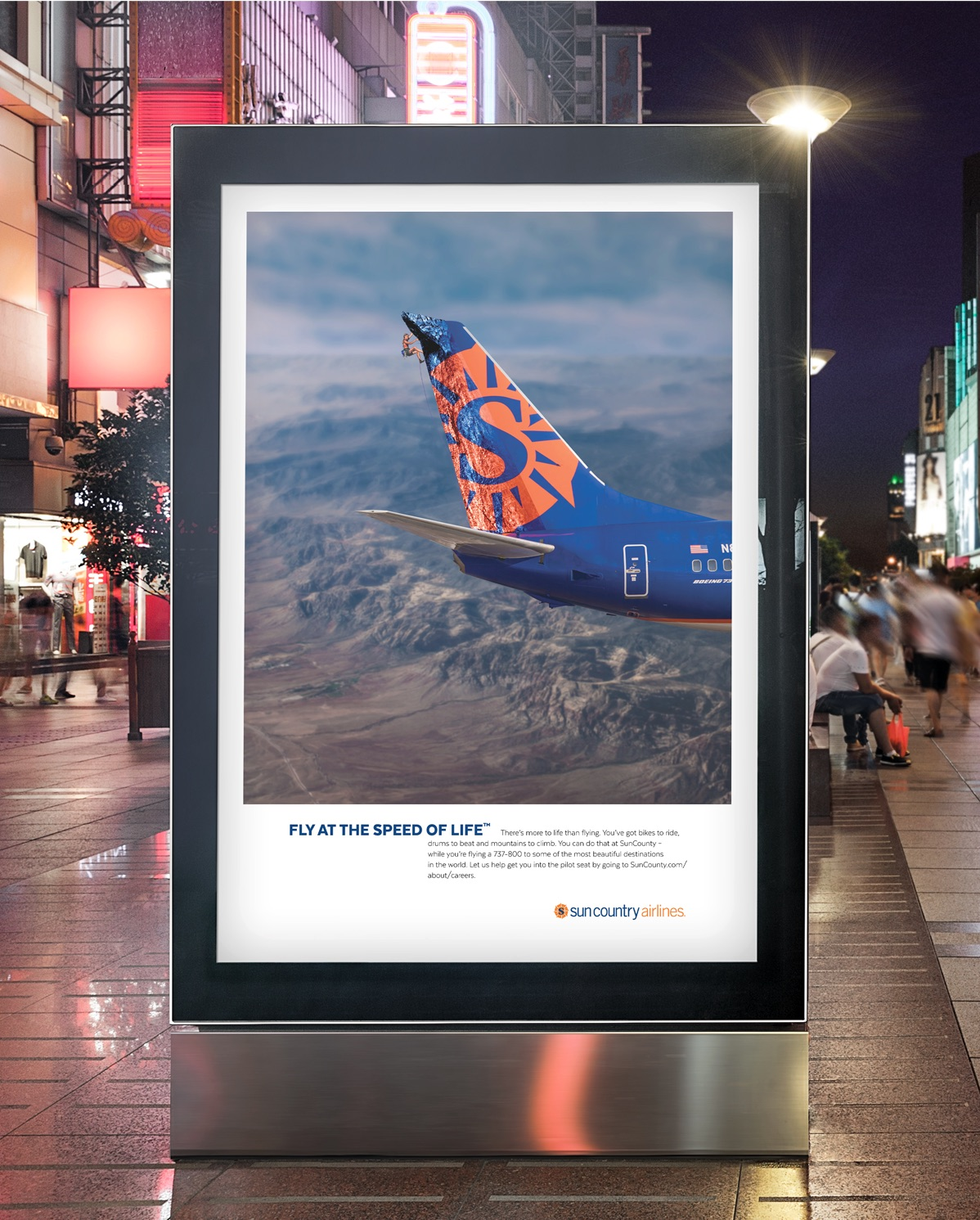 Sun Country Airlines Fly at the speed of life campaign billboard design