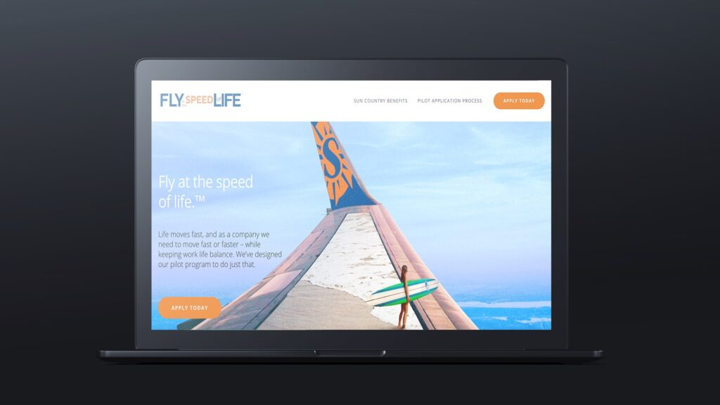 Sun Country Airlines Fly at the speed of life campaign website