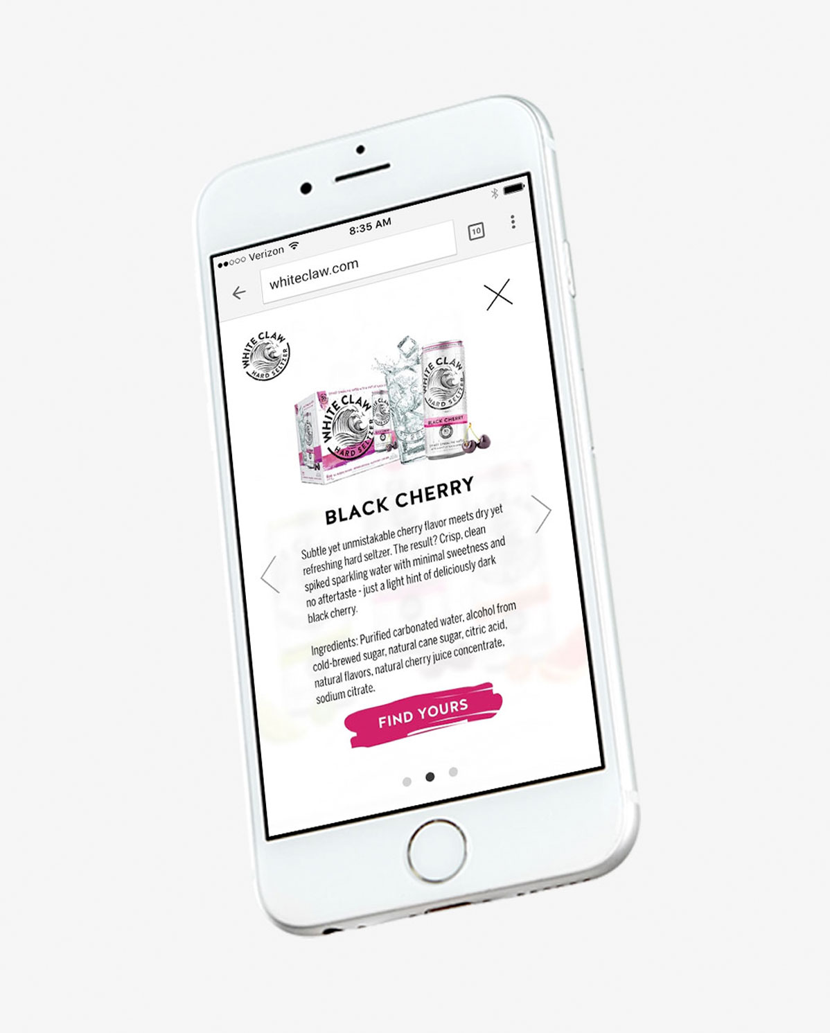 White Claw Hard Seltzer mobile first website design and development for initial brand launch by Agency Squid creative advertising agency