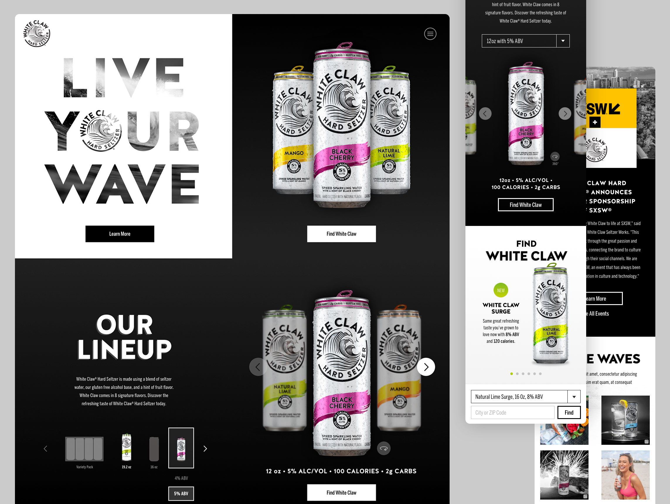 White Claw Hard Seltzer new website design and UI/UX work by Agency Squid creative advertising agency