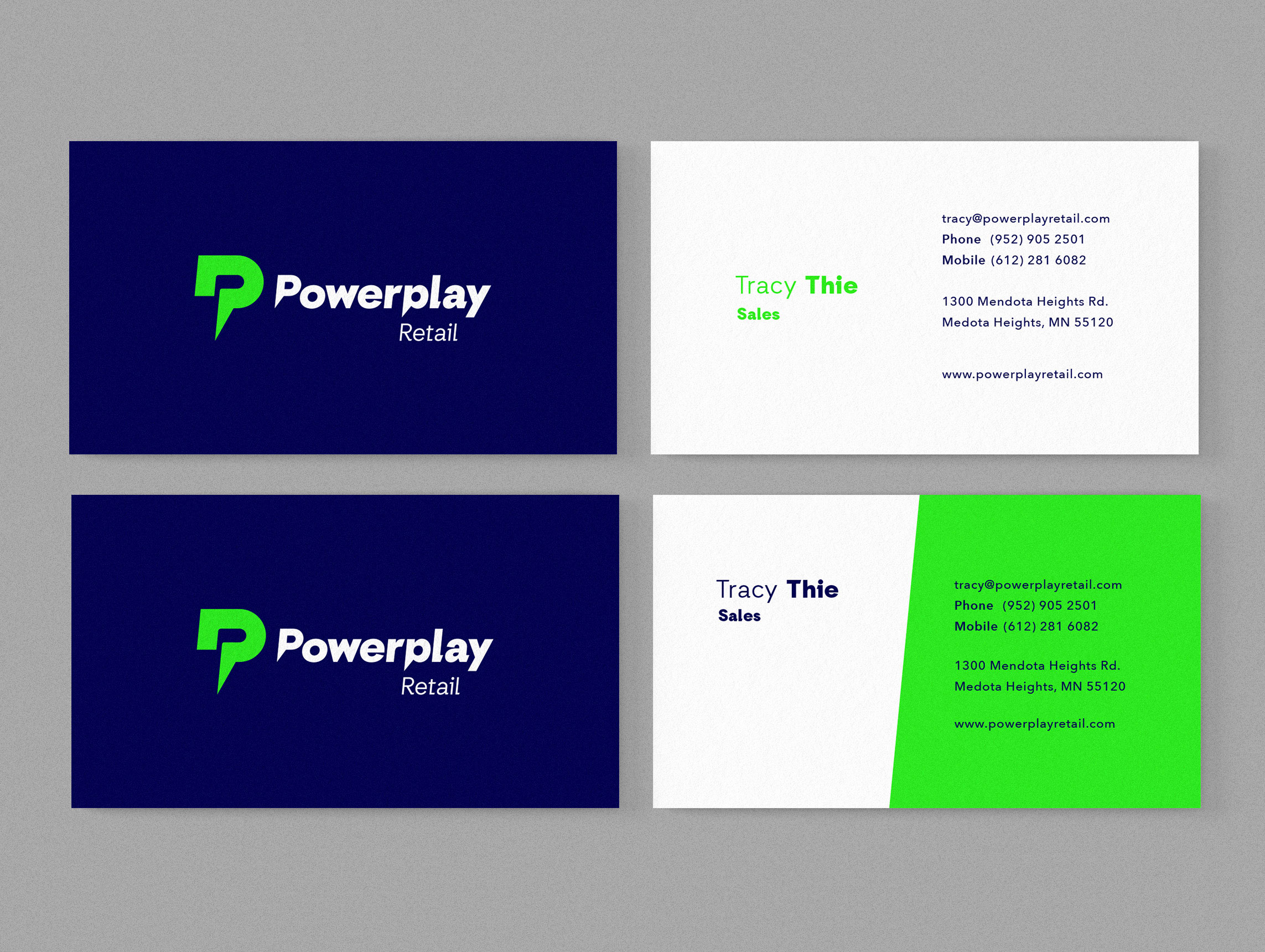 Powerplay Retail new brand identity applied to business cards